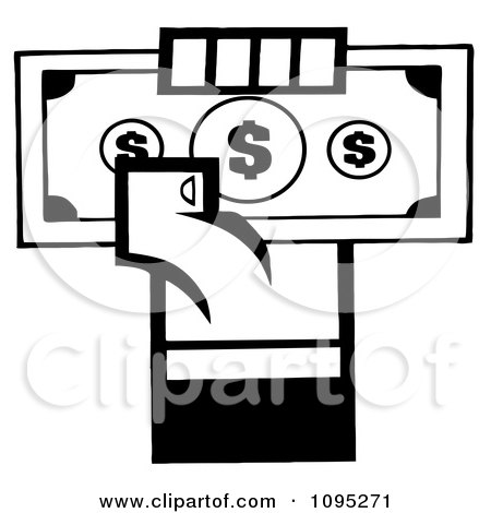Clipart Black And White Hand Holding Up Cash - Royalty Free Vector Illustration by Hit Toon