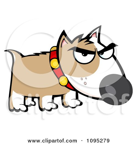 Clipart Mean Brown And White Bull Terrier Dog - Royalty Free Vector Illustration by Hit Toon