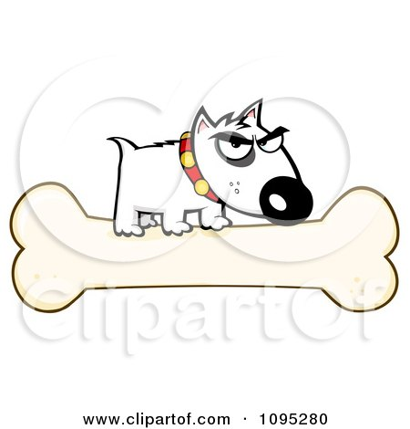 Clipart Mean White Bull Terrier Dog On A Bone - Royalty Free Vector Illustration by Hit Toon