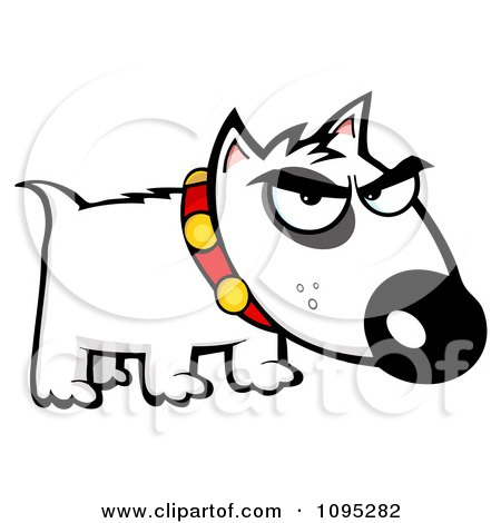 Clipart Mean White Bull Terrier Dog - Royalty Free Vector Illustration by Hit Toon