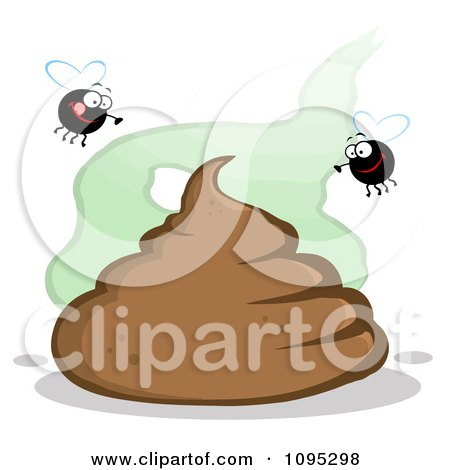 Clipart Flies Over A Pile Of Poop - Royalty Free Vector Illustration by Hit Toon