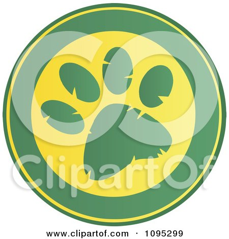 Clipart Green And Yellow Paw Print Circle - Royalty Free Vector Illustration by Hit Toon
