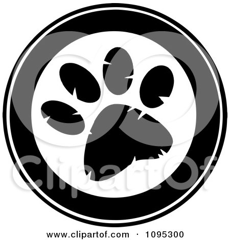 Clipart Black And White Paw Print Circle - Royalty Free Vector Illustration by Hit Toon
