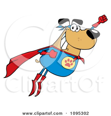 Clipart Flying Super Dog Flashing A Smile - Royalty Free Vector Illustration by Hit Toon