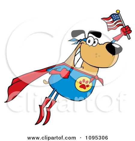 Clipart Flying Super Dog Flashing A Smile And Holding An American Flag - Royalty Free Vector Illustration by Hit Toon