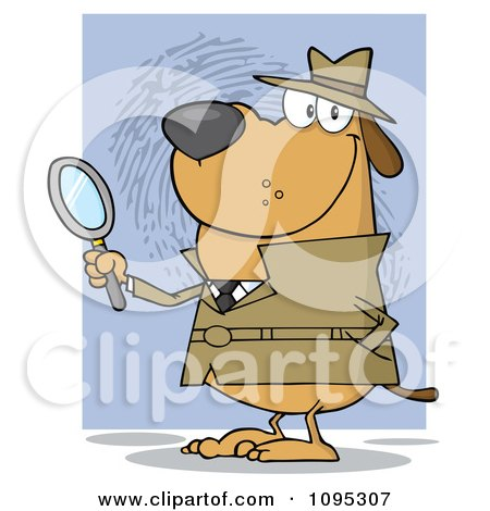 Clipart Smiling Detective Doggy Holding A Magnifying Glass - Royalty Free Vector Illustration by Hit Toon