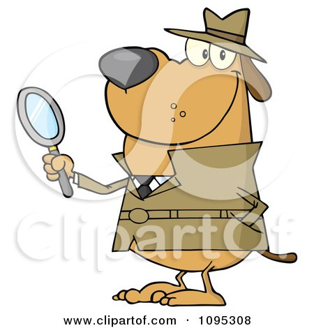 Clipart Smiling Detective Dog Holding A Magnifying Glass - Royalty Free Vector Illustration by Hit Toon