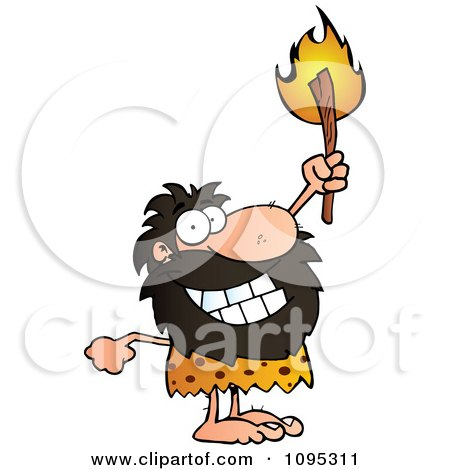 Clipart Caveman Holding Up A Lit Torch - Royalty Free Vector Illustration by Hit Toon