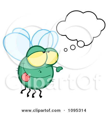 Clipart Fly Daydreaming - Royalty Free Vector Illustration by Hit Toon