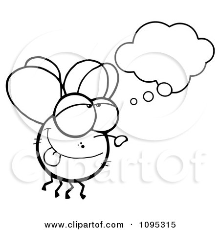 Clipart Outlined Fly Daydreaming - Royalty Free Vector Illustration by Hit Toon