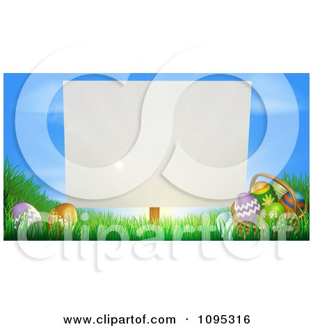 Clipart Blank Sign Posted In Grass By Easter Eggs - Royalty Free Vector Illustration by AtStockIllustration