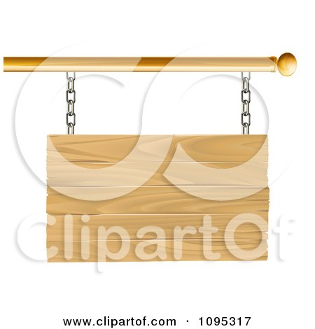 Clipart 3d Blank Wooden Sign Suspended From A Gold Rod - Royalty Free Vector Illustration by AtStockIllustration
