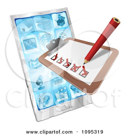 Clipart 3d Survey Or Checklist Over A Cell Phone - Royalty Free Vector Illustration by AtStockIllustration