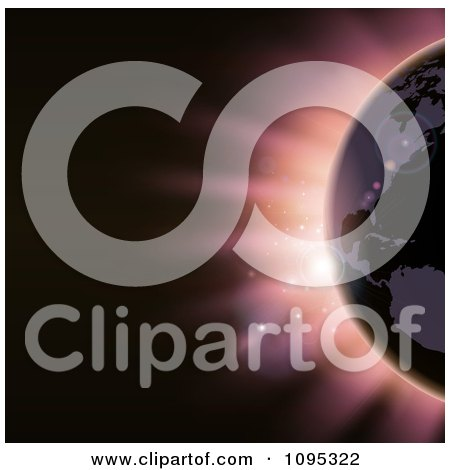Clipart The Americas Featured On The Earth Against An Eclipse And Pink Light - Royalty Free Vector Illustration by AtStockIllustration