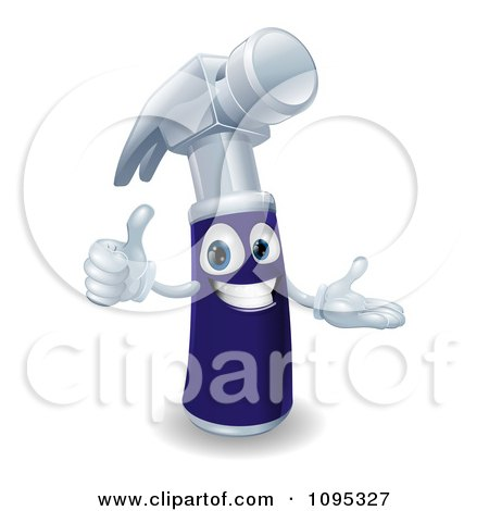 Happy 3d Blue Handled Hammer Character Holding A Thumb Up Posters, Art Prints