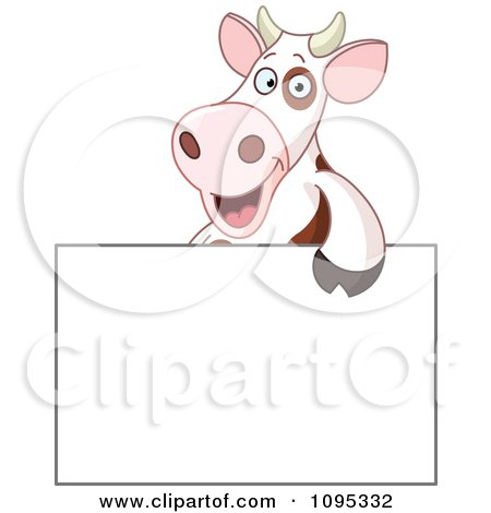 Clipart Cute Cow Smiling Over A Blank Sign - Royalty Free Vector Illustration by yayayoyo