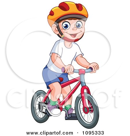 Clipart Happy Boy Wearing A Helmet And Riding A Bicycle - Royalty Free Vector Illustration by yayayoyo