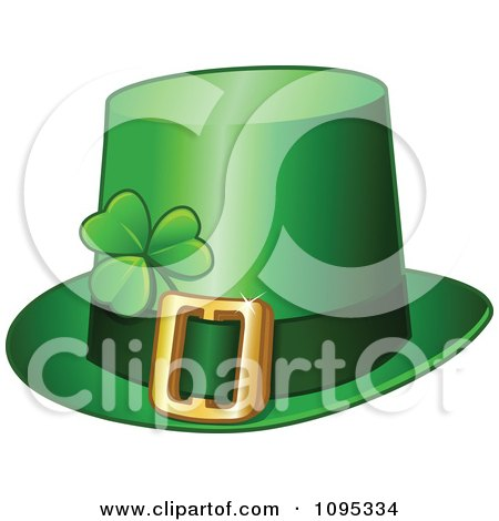 Clipart Green St Patricks Day Leprechaun Buckle Hat With A Shamrock - Royalty Free Vector Illustration by yayayoyo