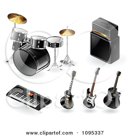 Clipart 3d Black Drums Amp Keyboard And Guitar Music Instrument Icons - Royalty Free Vector Illustration by TA Images
