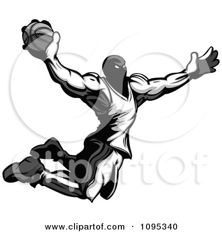 Clipart Strong Grayscale Basketball Player Catching Air To Dunk A Basketball - Royalty Free Vector Illustration by Chromaco
