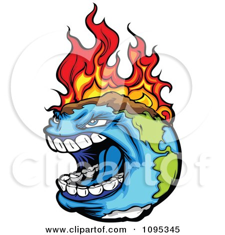 Clipart Angry Earth Screaming While Burning From Global Warming Fires - Royalty Free Vector Illustration by Chromaco