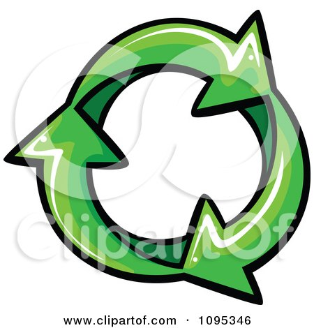 Clipart Three Green Recycle Arrows In An Infinite Circle - Royalty Free Vector Illustration by Chromaco