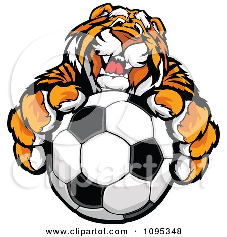 Clipart Friendly Tiger Mascot Holding Out A Soccer Ball - Royalty Free Vector Illustration by Chromaco