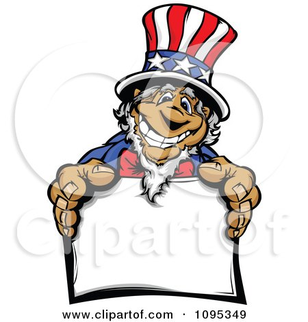 Clipart Jolly Uncle Sam Smiling And Holding Out A Sign - Royalty Free Vector Illustration by Chromaco