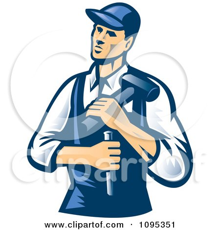 Retro Male Carpenter Holding A Chisel And Hammer Posters, Art Prints