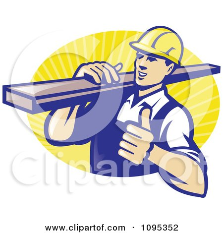 Clipart Retro Male Carpenter Holding A Thumb Up And Carrying Lumber Over Yellow Rays - Royalty Free Vector Illustration by patrimonio