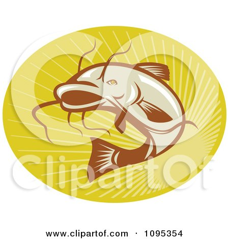 Clipart Retro Catfish Jumping Over Rays - Royalty Free Vector Illustration by patrimonio