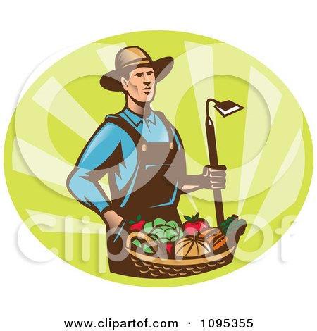 Retro Male Farmer Standing With A Hoe And Bucket Of Harvest Veggies Over Green Rays Posters, Art Prints