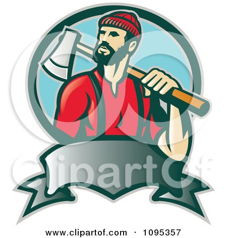 Clipart Retro Lumberjack Logger Carrying An Axe Over His Shoulder Over A Banner And Blue Circle - Royalty Free Vector Illustration by patrimonio