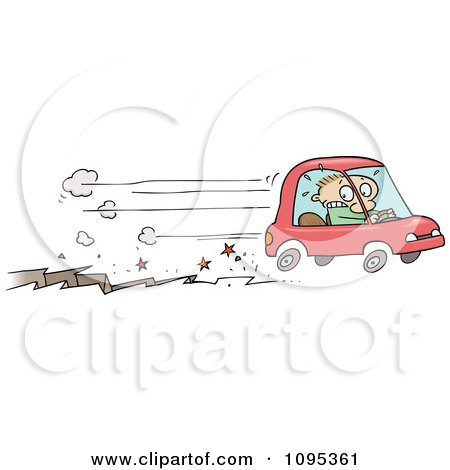 Clipart Toon Guy Speeding Away In A Car In Front Of A Fissure Crack - Royalty Free Vector Illustration by gnurf