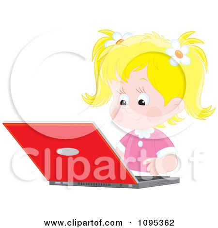 Clipart Blond School Girl Studying On A Laptop Computer - Royalty Free Vector Illustration by Alex Bannykh