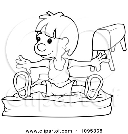 Clipart Outlined Gymnast Boy On A Pad - Royalty Free Vector Illustration by dero