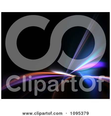 Clipart Colorful Fractal Lights Shining On Black - Royalty Free Illustration by Arena Creative