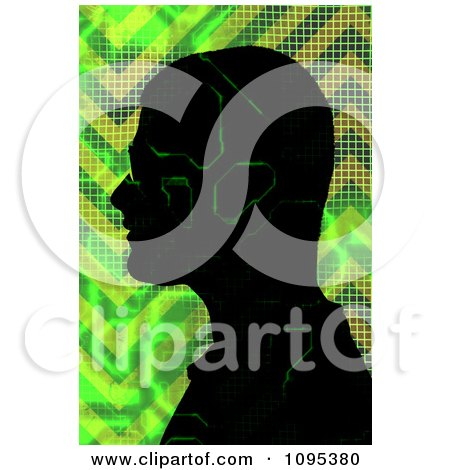 Male Silhouette With Green Digital Electronic Circuitry Posters, Art Prints