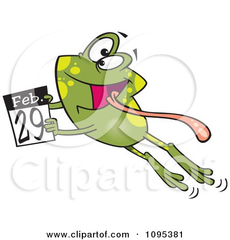 Clipart Cartoon Leap Day Frog Jumping With A February 29th Calendar - Royalty Free Vector Illustration by toonaday