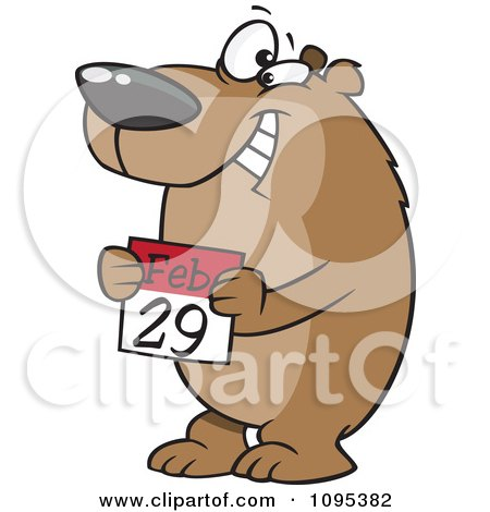 Clipart Cartoon Leap Day Bear Holding A February 29th Calendar - Royalty Free Vector Illustration by toonaday