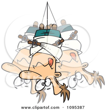 Clipart Cartoon Man Hanging Upside Down In A Straitjacket - Royalty Free Vector Illustration by toonaday