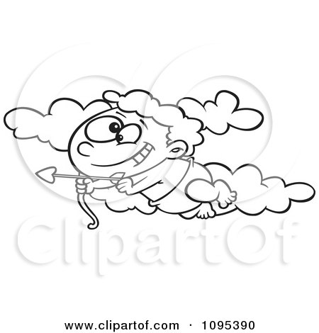Clipart Black And White Outline Cartoon Baby Cupid Flying In The Sky With An Arrow - Royalty Free Vector Illustration by toonaday