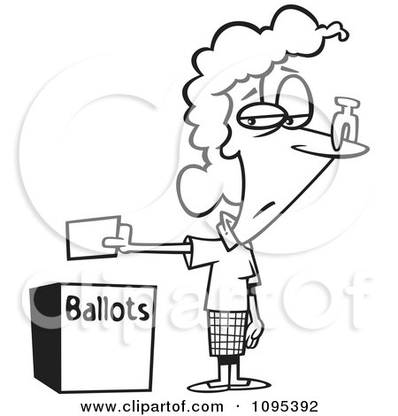 Clipart Black And White Outline Cartoon Female Voter With A Nose Plug Putting Her Ballot In A Box - Royalty Free Vector Illustration by toonaday