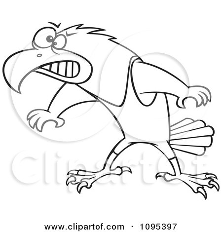 Clipart Black And White Outline Cartoon Wrestler Hawk Ready To Fight - Royalty Free Vector Illustration by toonaday