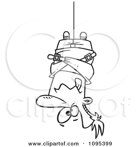 Clipart Black And White Outline Cartoon Man Hung Upside Down In A Straitjacket - Royalty Free Vector Illustration by toonaday