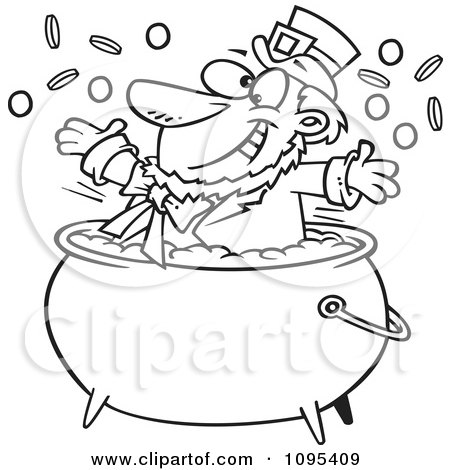 Clipart Black And White Outline Cartoon St Patricks Leprechaun Playing In A Pot Of Gold - Royalty Free Vector Illustration by toonaday
