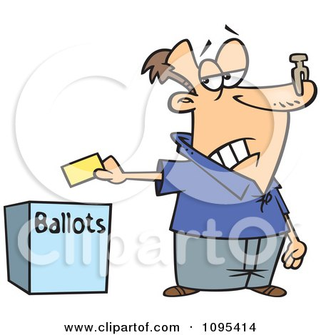 Cartoon Voter With A Nose Plug Putting His Ballot In A Box Posters, Art Prints
