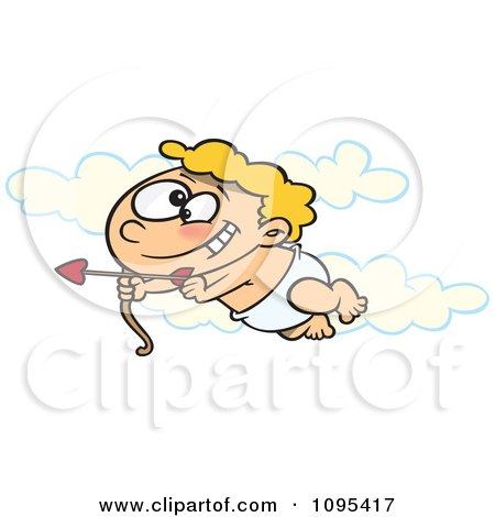 Clipart Cartoon Baby Cupid Flying In The Sky With An Arrow - Royalty Free Vector Illustration by toonaday
