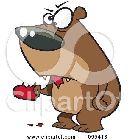 Clipart Cartoon Angry Bear Eating A Heart - Royalty Free Vector Illustration by toonaday