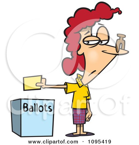 Clipart Cartoon Female Voter With A Nose Plug Putting Her Ballot In A Box - Royalty Free Vector Illustration by toonaday